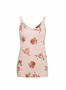 Womens Pink Floral Print Swing Camisole Top, Pink