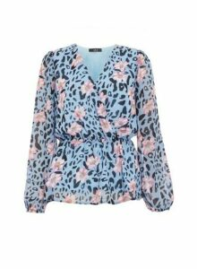 Womens *Quiz Blue Floral And Animal Print Wrap Top, Blue