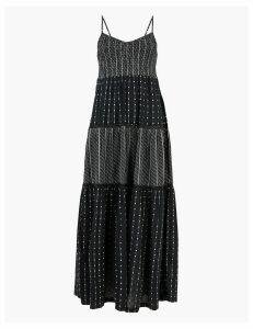 Per Una Cotton V-Neck Lace Insert Maxi Tiered Dress