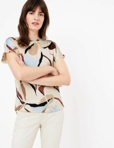 M&S Collection Printed Slash Neck Straight Fit Blouse