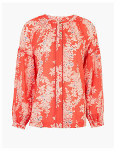 Per Una Pure Cotton Floral Blouson Sleeve Blouse