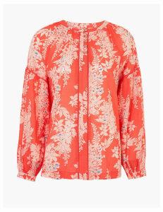 Per Una Pure Cotton Floral Blouson Sleeve Blouse