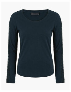 M&S Collection Pure Cotton Slub Scoop Neck Lace Detail Top