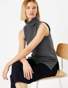 M&S Collection Roll Neck Longline Vest Top