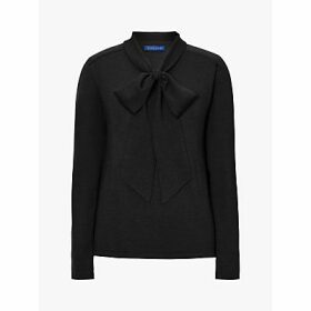 Winser London Bow Neck Wool Jumper, Black