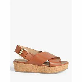 John Lewis & Partners Karlie Leather Cork Flatform Sandals