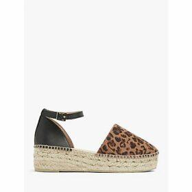 AND/OR Krystal Leather Leopard Print Platfrom Espadrilles, Black/Brown