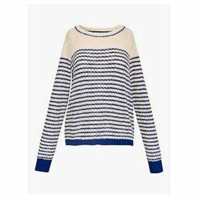 Gerard Darel Elvezia Breton Stripe Knit Jumper, Blue/Ecru