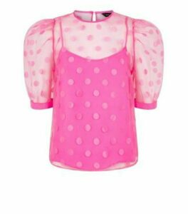 Bright Pink Spot Organza Puff Sleeve Top New Look