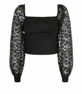 Black Organza Leopard Puff Sleeve Top New Look
