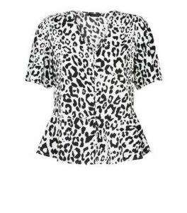 Off White Leopard Print Peplum Blouse New Look