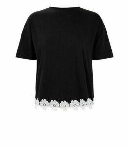 Black Floral Crochet Contrast Hem T-Shirt New Look