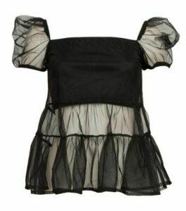 NaaNaa Black Mesh Puff Sleeve Top New Look