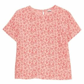 Jack Wills Pollylane Printed Woven Tee - Pink