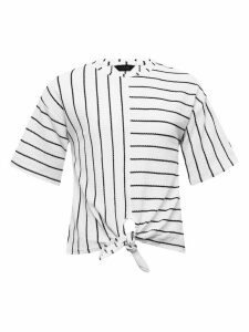 Teen white stripe tie front short sleeve top  - White