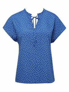 Women's Ladies spot print tie neck top