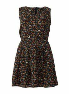 **Izabel Curve Ditsy Floral Print Pleated Skater Dress, Black