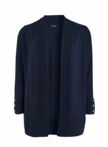Navy Popper Cuff Cardigan, Navy