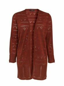 Rust Textured Longline Cardigan, Others