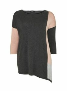 Grey Colour Block Asymmetric Jumper, Grey