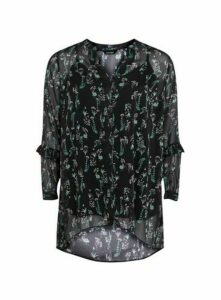 Black Floral Print Ruffle Shirt, Dark Multi