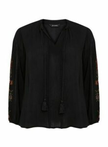 Black Embroidered Sleeve Blouse, Black