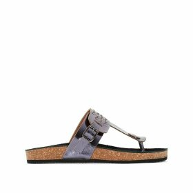 Metallic Leather Mules Wide Foot