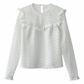 Openwork Lace Ruffled Blouse