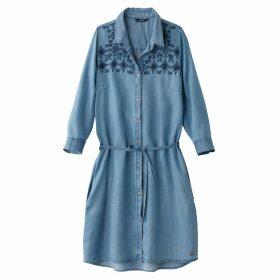 Long-Sleeved Embroidered Denim Dress