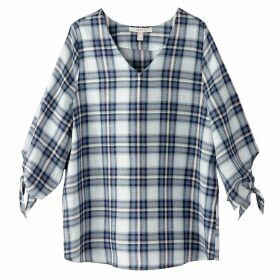Checked Blouse with Bow Tie Cuffs