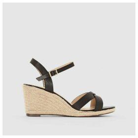 Wedge Heel Leather Espadrilles Sandals