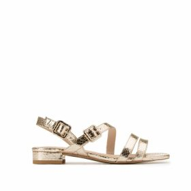 Gold-Tone Sandals in Snakeskin Effect