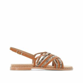 Wide Fit Leather Flat Sandals