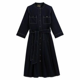 Cotton Shirt Dress with 3/4 Length Sleeves