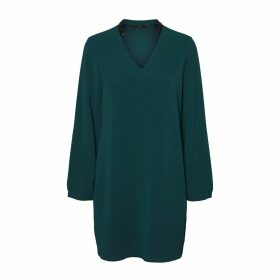V-Neck Shift Dress with Long Sleeves