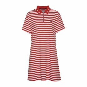 Cotton Essential Stripe Polo Dress with Zip Front