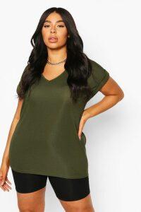 Womens Plus Basic Rib Oversized T-Shirt - Green - 22, Green