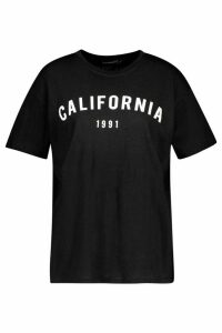 Womens Petite California Slogan T-Shirt - Black - M, Black