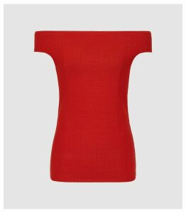 Reiss Zena - Knitted Bardot Top in Red, Womens, Size XXL
