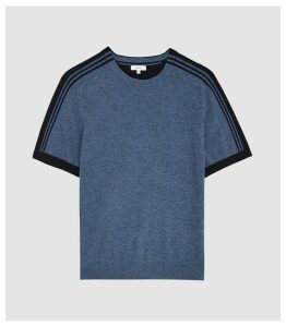 Reiss Goldmann - Stripe Detailed Crew Neck Top in Blue, Mens, Size XXL