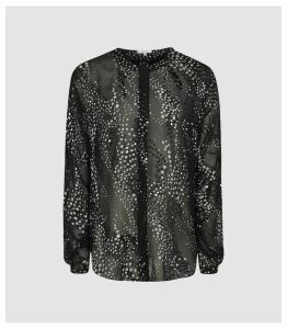 Reiss Lisa - Burnout Spot Printed Blouse in Monochrome, Womens, Size 16