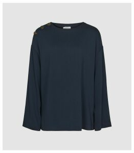Reiss Casper - Button Detail Long Sleeved Top in Navy, Womens, Size 16