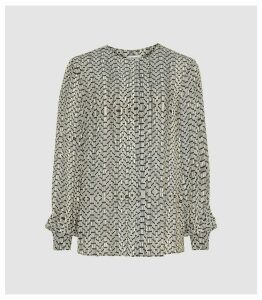 Reiss Celia - Printed Blouse in Neutral, Womens, Size 18
