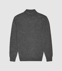 Reiss Kelby - Merino Wool Turtleneck in Mid Grey Melange, Mens, Size XXL