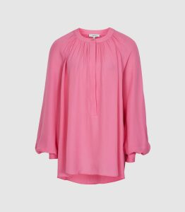Reiss Gwen - Gather Detailed Blouse in Pink, Womens, Size 16