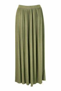 Womens Plus Floor Sweeping Jersey Maxi Skirt - Green - 20, Green