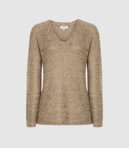 Reiss Jasmine - Chunky Metallic Knit Jumper in Bronze, Womens, Size XL