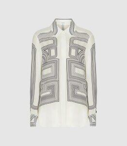 Reiss Geo - Line Print Shirt in Cream Print, Womens, Size 16