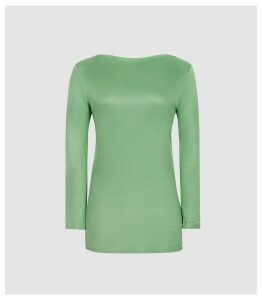 Reiss Marilyn - Straight Neck Top in Green, Womens, Size XL