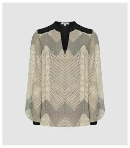 Reiss Zanna - Zig-zag Printed Blouse in Black/neutral, Womens, Size 16